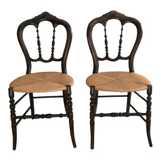 Late 19th Century Antique Balloon Back Chairs- a Pair For Sale
