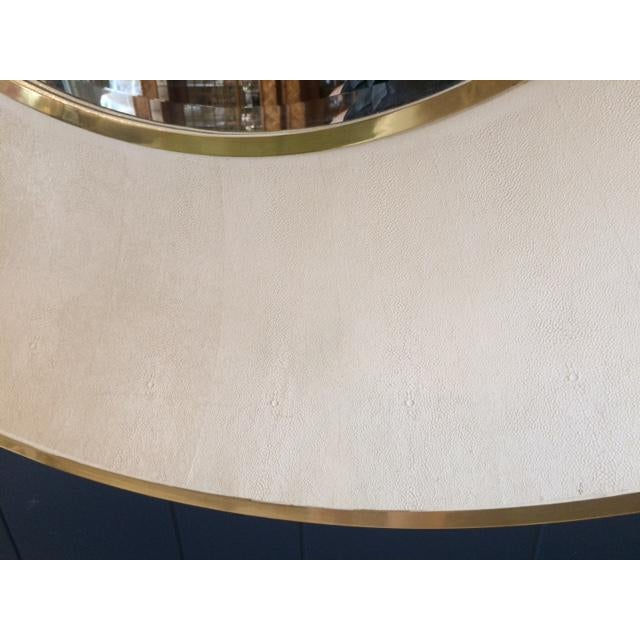 Large Modern Round Shagreen-Style Mirror For Sale In West Palm - Image 6 of 13