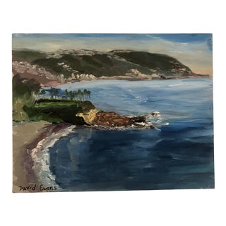David Evans Laguna Beach View Oil on Board Painting For Sale