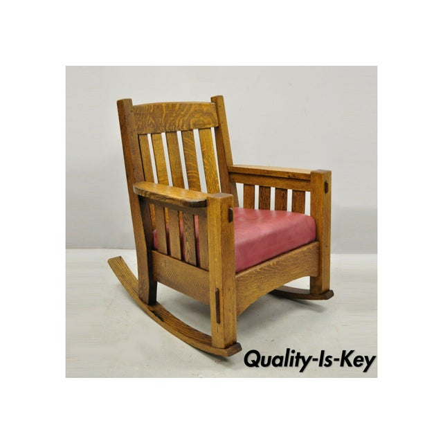 Early 20th Century Harden Mission Oak Arts & Crafts Stickley Style Rocking Chair Rocker Armchair For Sale - Image 13 of 13