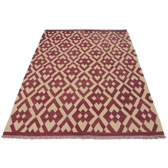 2000 - 2009 Modern Abstract Kilim Anjelica Hand-Woven Wool Rug -5′11″ × 8′4″ For Sale - Image 5 of 8