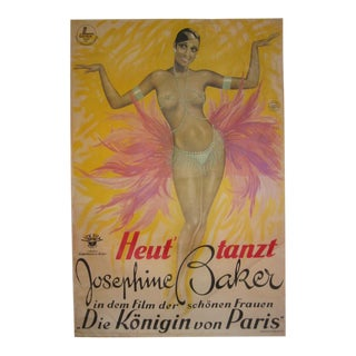 Josephine Baker Stone Lithographic Hand Printed Reproduction Movie Poster For Sale