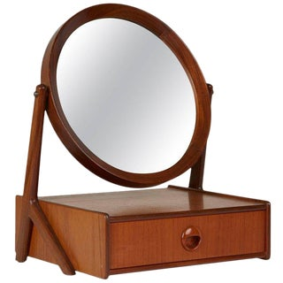 Norwegian Talgos Mobelfabrikk Teak Tilting Vanity Mirror, Circa 1950 For Sale