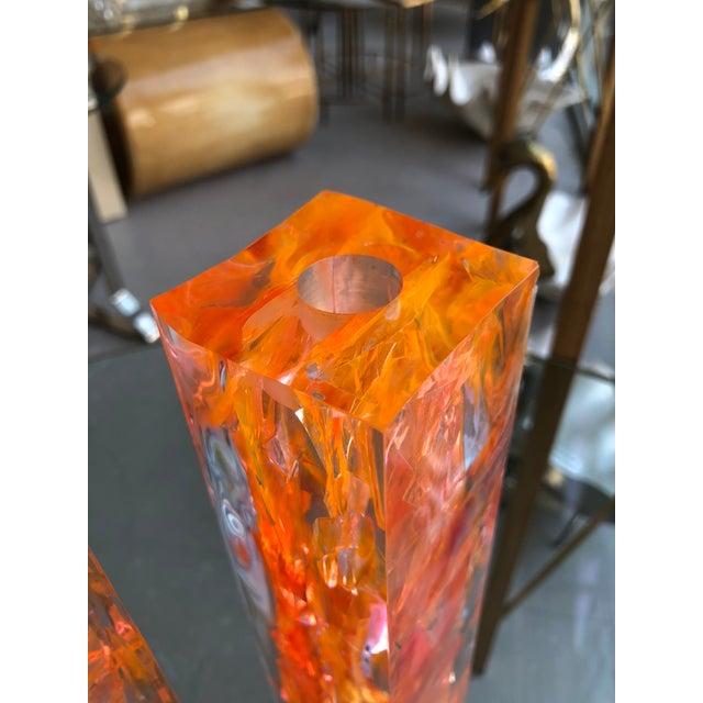 1990s Pair of Vintage Orange Resin Candlesticks Signed N M For Sale - Image 5 of 11