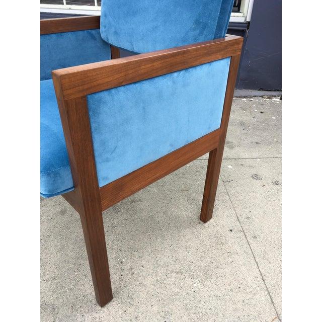Robert John Walnut Arm Chairs in Blue Velvet For Sale - Image 7 of 11