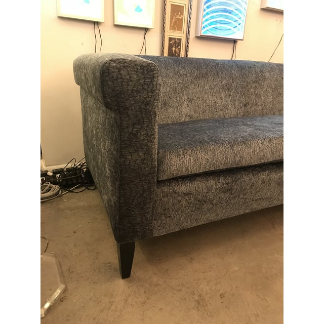 Blue 1940's Mid-Century Modern Restored, Silvery Dusty-Blue Chenille Sofa For Sale - Image 8 of 12