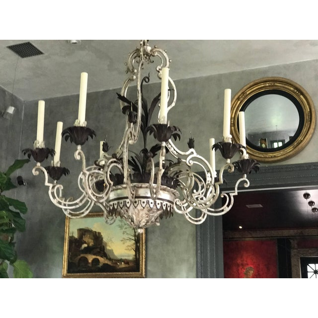 French Wrought Iron Chandelier For Sale - Image 3 of 7