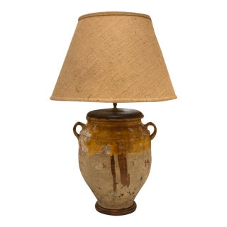 Antique French Yellow Glazed Confit Pot Lamps With Burlap Shade For Sale