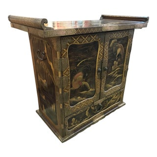 Antique Japanese Chinoiserie Cabinet with Brass Trim For Sale