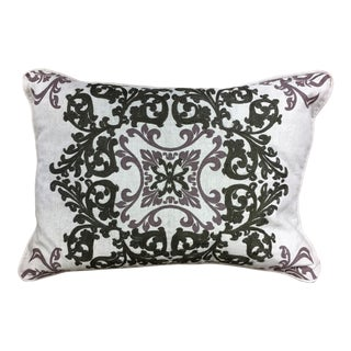 Villa Embroidered Linen Pillow For Sale