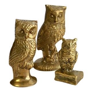 Vintage Brass Owl Statues - Set of 3