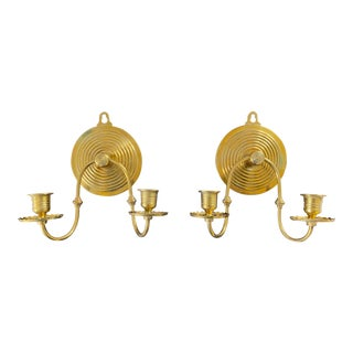 Victorian Aesthetic Period Brass Bullseye Sconces in the Manner of Christopher Dresser - a Pair For Sale