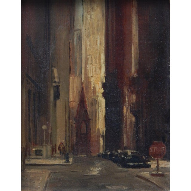 Small atmospheric oil painting of Wall Street in vintage gold frame.