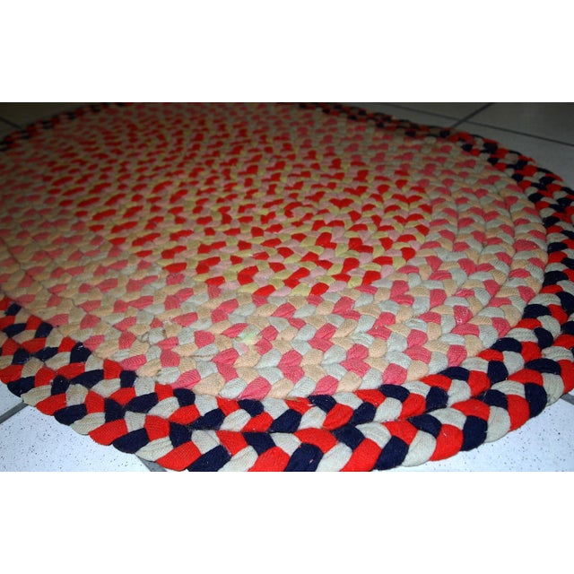 1920s handmade antique American Braided rug 1.9' x 2.7' For Sale - Image 4 of 11