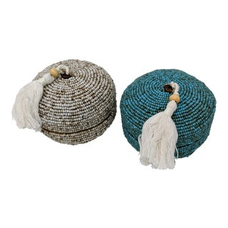 Coastal Modern Asian Natural and Teal Seed Bead Keepsake Covered Boxes With Tassel - Pair (2) For Sale