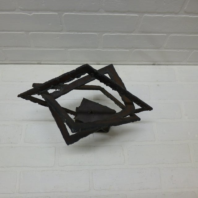 Mid-Century Hand Forged Brutalist Sculptural Candle Holder For Sale - Image 9 of 11