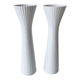 Rosenthal Studio Line Akropolis White Porcelain Vases - a Pair For Sale