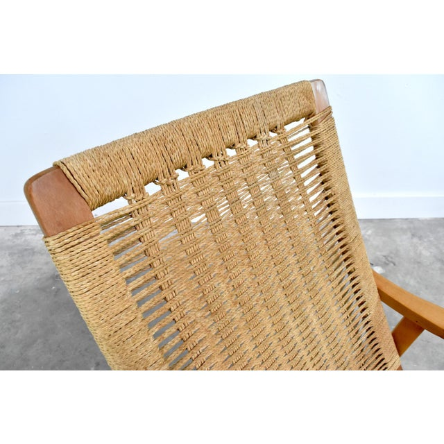 Mid-Century Hans Wegner Style Rope Rocking Chair For Sale - Image 9 of 13