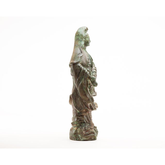 Verdigris Lawrence & Scott Large Scale Verdigris Bronze Figure of Guan Yin Goddess of Mercy With Hand-Carved Hardwood Stand For Sale - Image 8 of 10