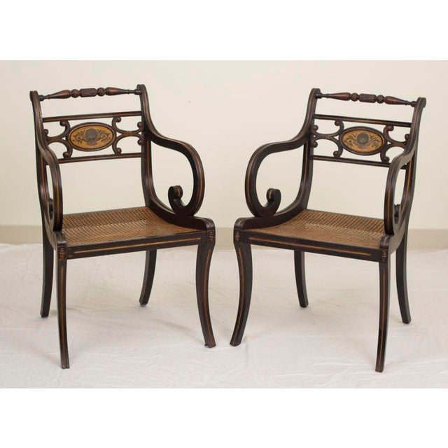 Tan 19th Century Regency Style Fancy Painted Armchairs - a Pair For Sale - Image 8 of 8