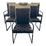 Image of Mid Century Mastercraft B. Rohne Brass Velvet Tufted Dining Chairs - Set of 6 For Sale