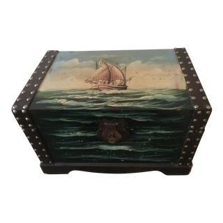 Vintage Painted Wooden Treasure Chest Box For Sale