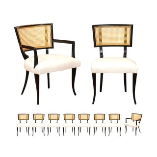 Exquisite Set of 10 Klismos Cane Dining Chairs in the Style of Billy Haines For Sale