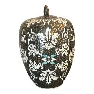 Black, White & Gold Ceramic Temple / Ginger Jar