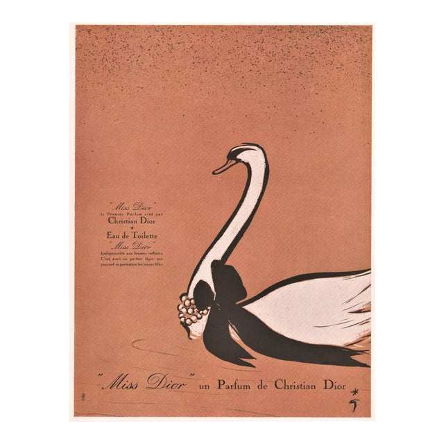 Midcentury French perfume print for Dior by Gruau For Sale