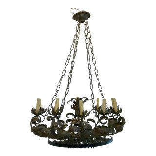 1920's Hand Cut Italian Brass Chandelier