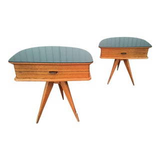 Pair of Italian tripod mid century modern nightstands, in clear fruit wood & black glass top.