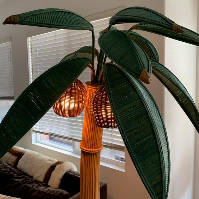 Mario Lopez Torres Rattan Palm Tree Floor Lamp For Sale In San Diego - Image 6 of 10