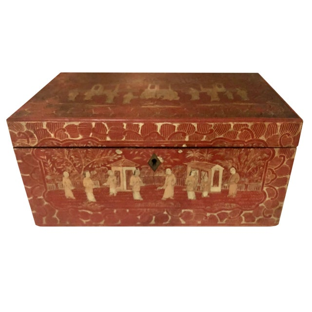 Rose 19th Century Red and Gold Chinese Export Box For Sale - Image 8 of 8