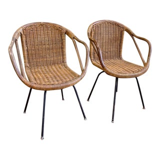 Pair, Mid Century Cali-Asia Rattan Swivel Chairs For Sale