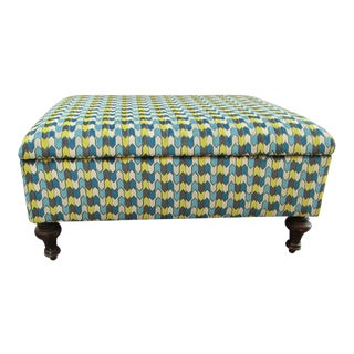 1970s Contemporary Teal & Yellow Upholstered Ottoman For Sale