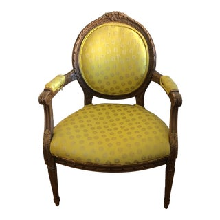 1960s Vintage Upholstered Yellow Chair For Sale
