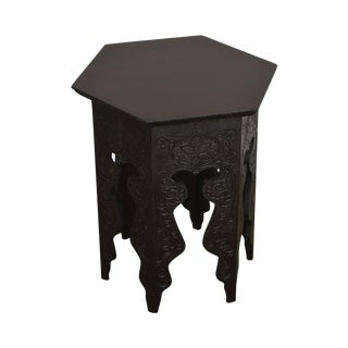 Antique Incised Carved Mahogany Hexagon Taboret Side Table For Sale