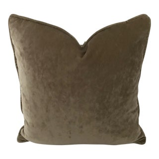 "Osborne & Little Taupe Velvet Goose Down Insert Pillow 20""x 20"" For Sale"