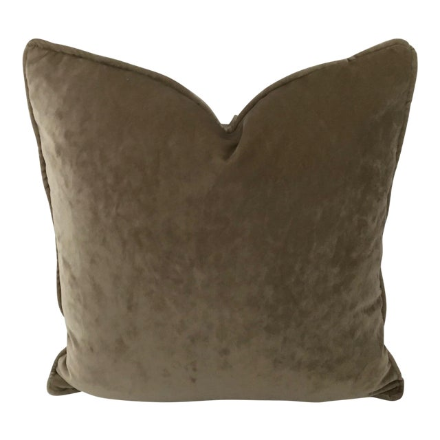 """Osborne & Little Taupe Velvet Goose Down Insert Pillow 20""""x 20"""" For Sale"""