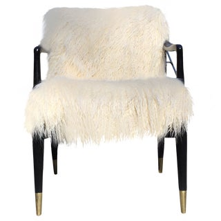 Mid-Century Faux Fur Accent Chair
