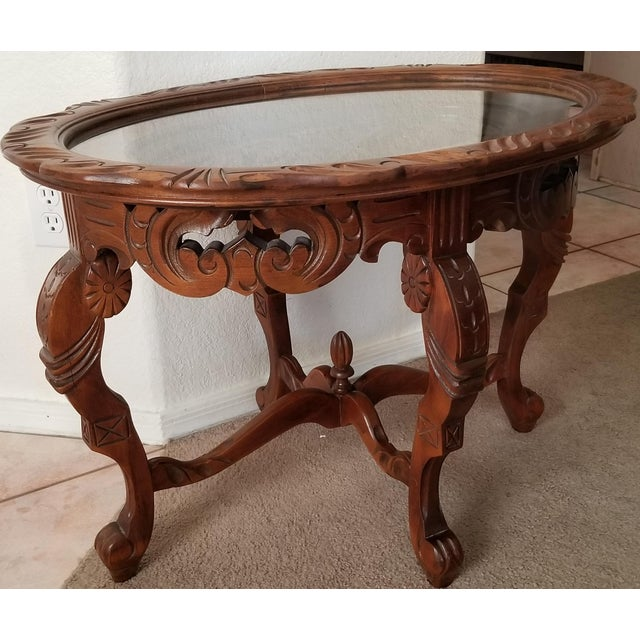 1930's Heavily Carved Wooden Table W/Glass Tray Removable Top For Sale - Image 12 of 13