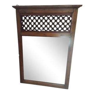 Vintage Hand Carved Teak Mirror For Sale