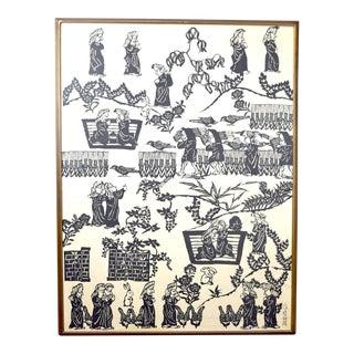 Original Sadao Watanabe Large-Scale Japanese Momigami Sōsaku-Hanga Woodblock For Sale