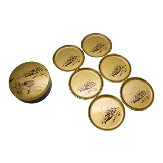1970s Vintage Japanese Gold Lacquer Coasters - Set of 6 For Sale