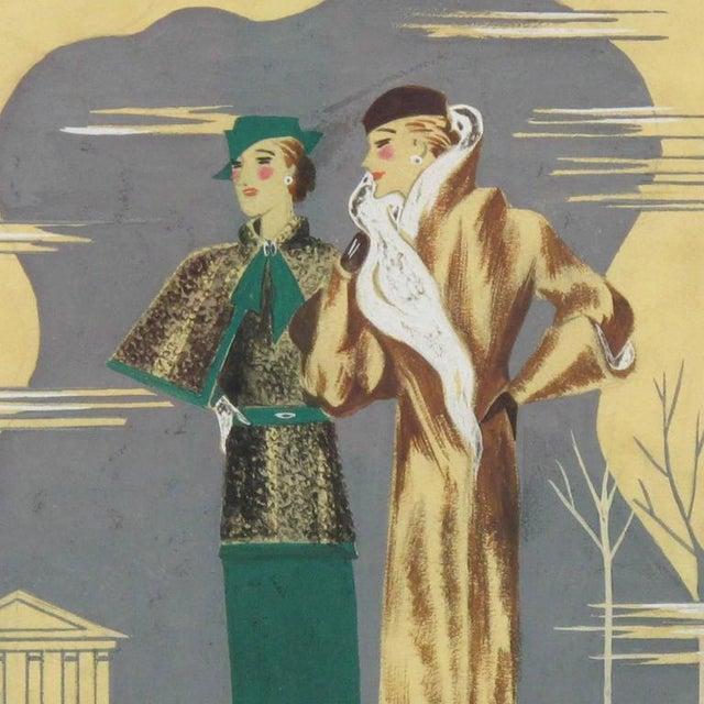 Edouard Halouze French Art Deco Fashion Illustration Drawing - Image 4 of 7