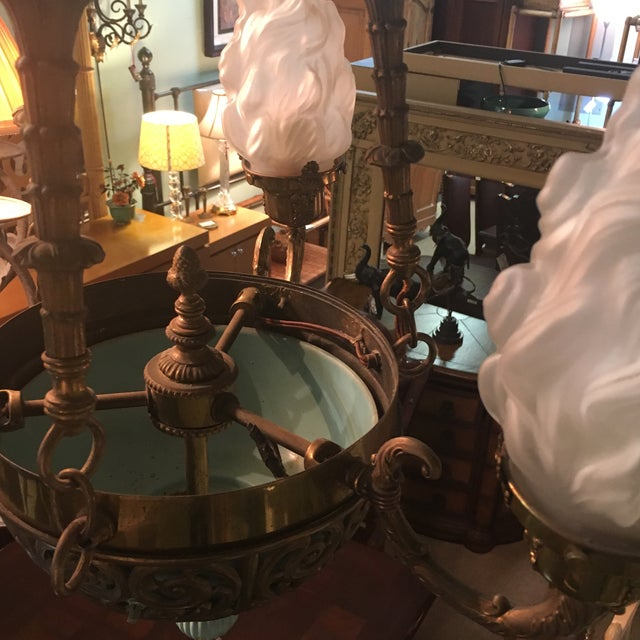 Antique Bronze French Art Deco Chandelier With Lalique Style Globes For Sale In West Palm - Image 6 of 10