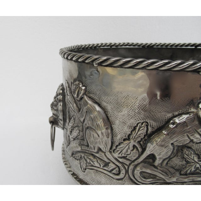 Tan Castilian Hammered Silver Monkey Embossed Centerpiece Jardiniere, Planter For Sale - Image 8 of 13