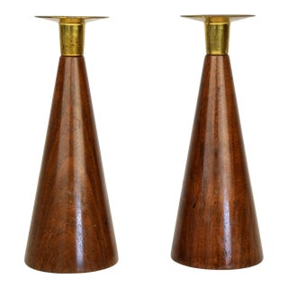 Pair of Walnut and Brass Candlesticks For Sale