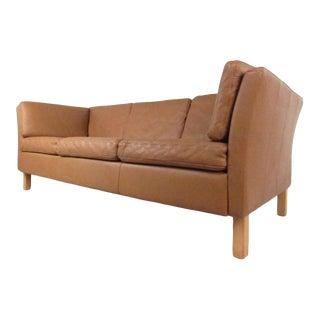 Danish Modern Leather Sofa For Sale