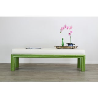 Mid-Century Apple Green Faux Bamboo Bench With Linen Cushion, Green Bamboo Bench, Cream Linen Bench Preview
